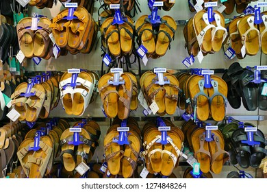 HONOLULU, HI -12 DEC 2018- View of comfortable Birkenstock sandals for sale in a store in Honolulu, Oahu, Hawaii.