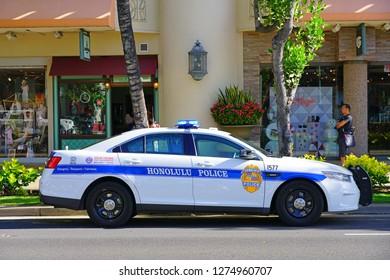 HONOLULU, HI -12 DEC 2018- View of a Honolulu police car on the street in Waikiki, Honolulu, Oahu, Hawaii.