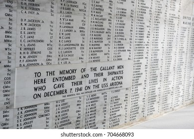 HONOLULU, HI - AUG. 14, 2012: The names of Servicemen entombed aboard the USS Arizona are inscribed on a wall at the USS Arizona Memorial in Pearl Harbor, Hawaii on Aug. 14, 2012