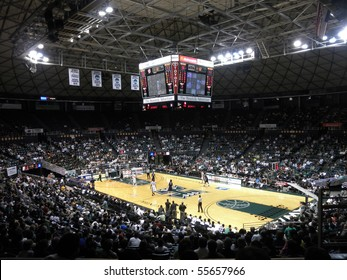 HONOLULU, HI - FEBRUARY 27: Nevada 63 vs. Hawaii 74: Arena view with players waiting an in-bounds pass February 27, 2010 at the Stan Sheriff Center in Honolulu, Hawaii.