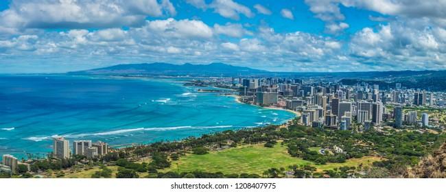 HONOLULU, HI - JULY 06, 2015 - Panoramic view of Honolulu from Diamond Head in the afternoon, Hawaii on July 06, 2015.