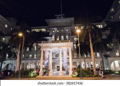 Honolulu, HI: September 27, 2016: Moana Hotel on the island of Oahu, state of Hawaii.  Moana Hotel opened in 1901.