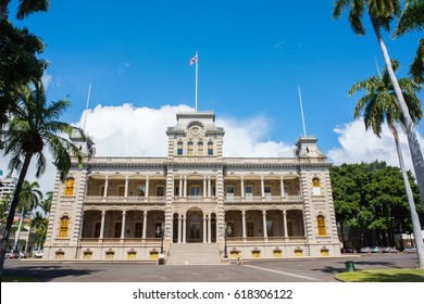 Honolulu, HI: September 27, 2016: Iolani Palace on the island of Oahu. Iolani Palace is the only former royal palace in the United States and is now open to the public as a museum.