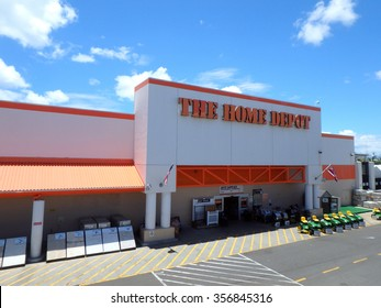 Honolulu, HI, USA - August 4, 2015: Oahu Home Depot, Founded 1978, Home Depot is retailer of home improvement, construction products and services. It's the largest home improvement retailer in USA.