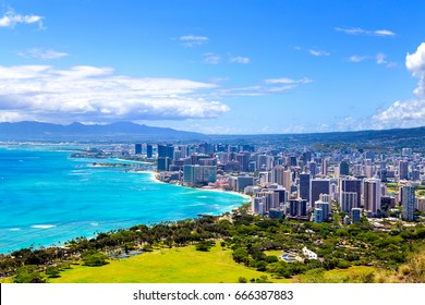 Honolulu, HI, USA: Honolulu City: Honolulu City from Diamond Head