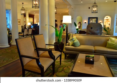 Honolulu, HI, USA July 31, 2014 The lobby of the historic Moana Surfrider hotel on Waikiki Beach in Honolulu, Hawaii is decorated in an elegant style