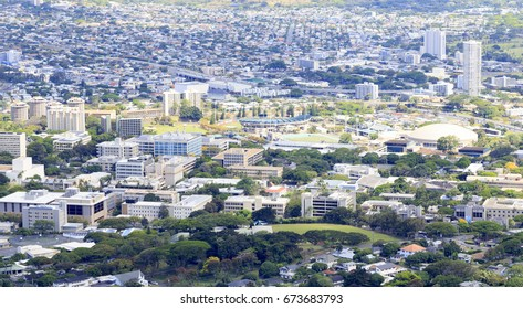 Honolulu, HI, USA - May 28, 2017: University of Hawaii: University of Hawaii from Tantalus. The University of Hawaii is a public co-educational research university. This campus is at Manoa of UH.