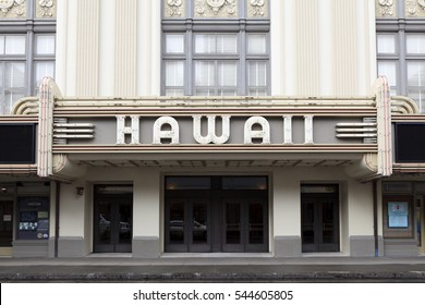 Honolulu, HI, USA - November 25, 2016: Hawaii Theatre: View of the facade of the historic Hawaii Theatre. It is located in Chinatown and is popular for residents and tourists.