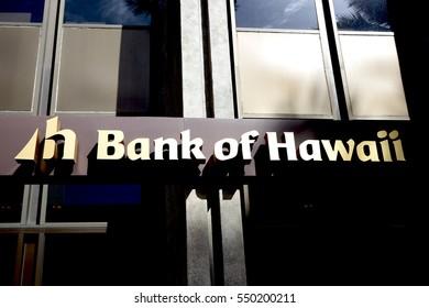 Honolulu, HI, USA - November 26, 2016: Bank of Hawaii: The Bank of Hawaii Corporation (BOH) is a regional commercial bank headquartered in Honolulu, Hawaii.