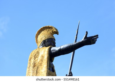 Honolulu, HI, USA - November 26, 2016: Kamehameha I: King Kamehameha Statue in front of Aliiolani Hale. King Kamehameha was a Hawaiian king.