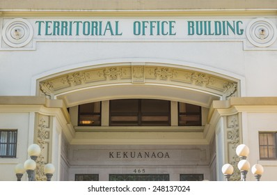 Honolulu, Jan. 28:  Exterior facade of the Hawaii Territorial Office Building.  Honolulu, Hawaii, USA.  January 28, 2015.