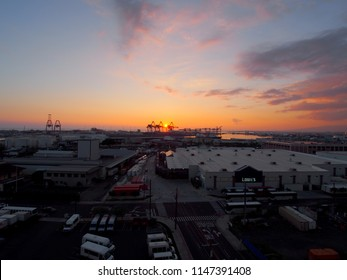 Honolulu - January 12, 2016: Aerial view of Lowe's,, Sunset, Shipping Cranes, and Honolulu cityscape on Oahu, Hawaii.   Lowe's Companies, Inc. is an American company that operates a chain stores.