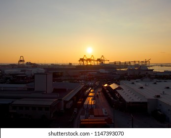 Honolulu - January 12, 2016: Aerial view of Lowe's,, Sunset, Shipping Cranes, and Honolulu cityscape on Oahu, Hawaii.   Lowe's Companies, Inc. is an American company that operates a chain of stores.