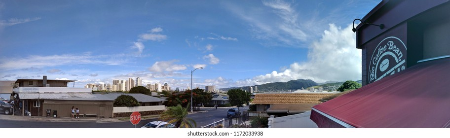 Honolulu - July 22, 2018:  Kapahulu Cityscape with Coffee Bean and Diamondhead Grill on Oahu, Hawaii.