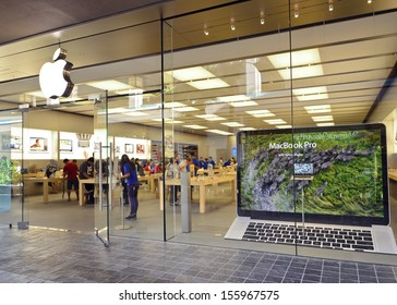 HONOLULU - June 11, 2012: The Apple retail store in Honolulu at the Ala Moana Center advertises the latest generation of the Macbook Pro with a retina display, which was released on June 11, 2012.