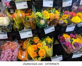Honolulu - June 16, 2018: Flower Bouquet For Sale inside Whole Foods Market.