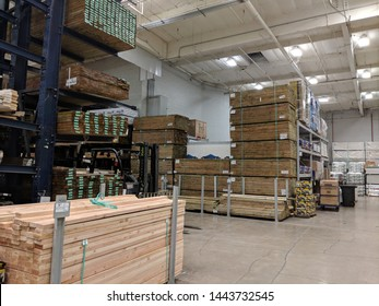 Honolulu - June 18, 2018: Rows of Wood Lumber For Sale Inside Lowe's Home Improvement store.
