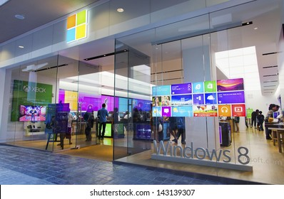 HONOLULU - JUNE 20: The new Microsoft Store in Honolulu launched on June 12, 2013.  This store is unique because of its placement across from the Apple Store.
