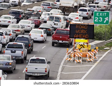 HONOLULU - JUNE 26 2013: Cars line up on the freeway due to road construction on June 26, 2013. Traffic has become a serious issue in Hawaii, as population crowds the existing infrastructure.