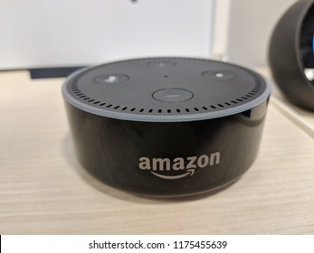 Honolulu - March 7, 2018: Echo Dot (2nd Generation) - Smart speaker with Alexa - Black on display. Similarly to other devices in the family, it is designed around Amazon's virtual assistant Alexa.