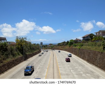 Honolulu - May 15, 2013: Cars drive on the H-1 Highway in Kaimuki
