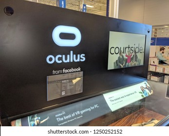 Honolulu - May 29, 2018: Oculus from Facebook display in Honolulu Best Buy store.   Oculus VR is an American technology company founded by Palmer Luckey, Brendan Iribe, Michael Antonov, Nate Mitchell