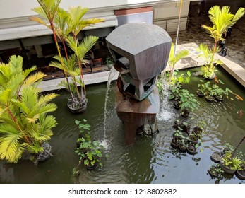 Honolulu - May 31, 2018:  Overhead view of Waiola sculpture fountain (1966) by George Tsutakawa at Ala Moana Shopping Center. Honolulu, HI
