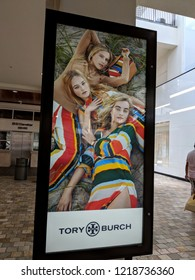 Honolulu - May 31, 2018: Tory Burch Ad in Ala Moana Mall.  Tory Burch LLC, known as Tory Burch, is an American fashion label owned, operated and founded by American designer Tory Burch.