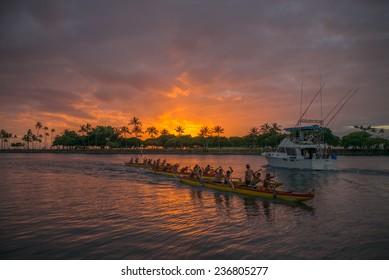 Honolulu, Nov. 7:  Racing to the finish in the Hawaii Outrigger Canoe Championships.  Honolulu, Hawaii, USA.  Nov. 7, 2014.