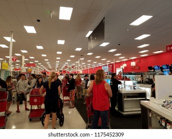 Honolulu - November 24, 2016: People Search Target For Deals on Black Thursday.  American new tradition of shopping after Thanksgiving.