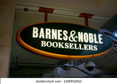 Honolulu - November 26, 2015: Barnes and Noble Bookstore Sign hangs from ceiling.  Barnes and Noble is a Bookstore with wide selection of new books, as well as movies, music, toys and games.