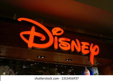 Honolulu - November 26, 2015:  Disney Store logo on wall on Grey Thursday evening at the Ala Moana shopping center.  The Disney Store is an international chain of specialty stores selling only Disney.