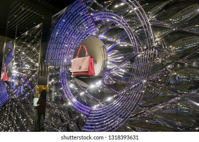 Honolulu - November 26, 2015:  Louis Vuitton window Display with LED Lights in display.  Louis Vuitton Malletier, commonly referred to as Louis Vuitton, or shortened to LV, is a fashion house.