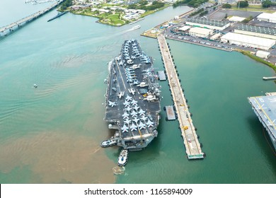 Honolulu, Oahu, Hawaii - April 27th, 2018. US Army Military vessel in the Pearl Harbor from above. Aerial photography