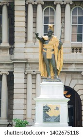 Honolulu, Oahu, Hawaii Feb 1, 2018: King Kamehameha statue of the legendary Hawaiian King is a popular landmark