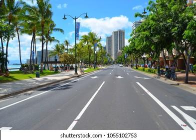 Honolulu, Oahu, Hawaii, March 22, 2018, Kalakaua Ave along the Waikiki beach