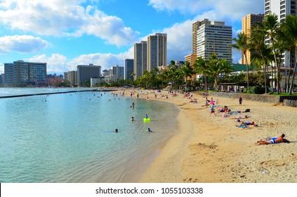 Honolulu, Oahu, Hawaii, March 24, 2018, Waikiki beach, people relax and bathe