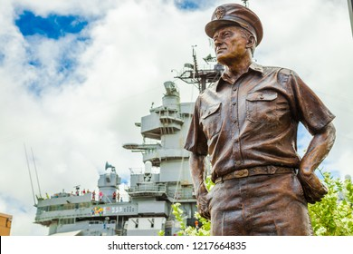 HONOLULU, OAHU, HAWAII, USA - AUGUST 21, 2016: statue portrait of Admiral Chester W. Nimitz, represented the United States during surrender of Japan aboard USS Missouri in Tokyo Bay 1945.