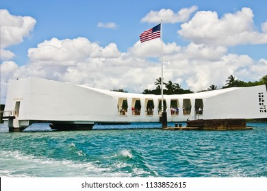honolulu, oahu/hawaii - 5/29/2007: close up view of uss arizona memorial in pearl harbor honolulu hawaii usa