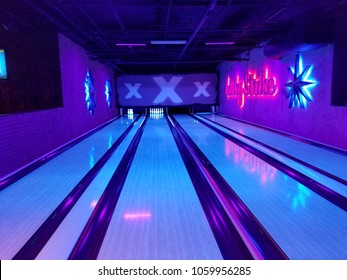Honolulu - October 17, 2017: four lanes in the Lucky Strike Bowling Alley.  Lucky Strike lanes are inspired by The Big Lebowski film.