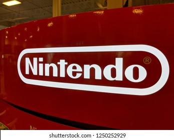 Honolulu - September 7, 2018:  Nintendo Red and White Logo inside Best Buy store.  Nintendo Co., Ltd. is a Japanese multinational consumer electronics and video game company headquartered in Kyoto.
