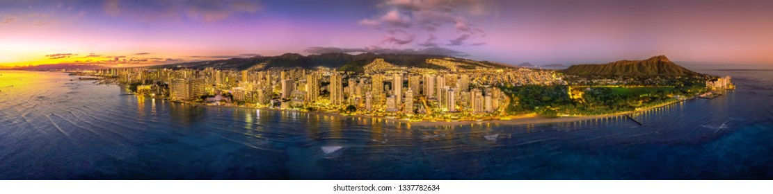 Honolulu skyline after sunset
