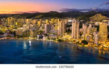 Honolulu skyline during blue hour