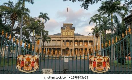 HONOLULU, UNITED STATES OF AMERICA - JANUARY 15 2015: the front gates of iolani palace in honolulu, the only royal palace in the united states