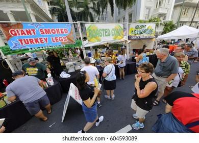HONOLULU, USA - FEBRUARY 19, 2017: Photo of the Honolulu street festival held on Kalakaua Avenue.