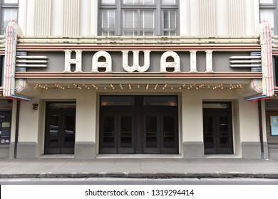 Honolulu, USA - November 24, 2016: Exterior view of the landmark Hawaii Theatre in the city's Chinatown district. The Art Deco structure designed by architects Webb and Emory was built in 1921.