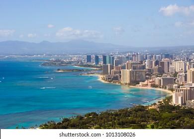 Honolulu and Waikiki beach on Oahu Hawaii. View from the famous Diamond Head hike from Diamond Head State Monument and park, Oahu, Hawaii, USA.