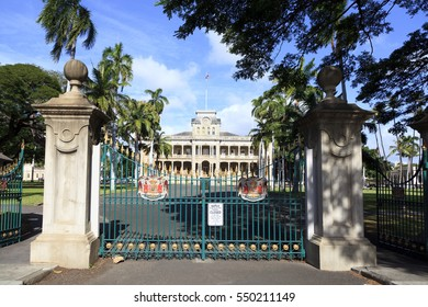 Honolulu,HI, USA - November 26, 2016: Iolani Palace in Honolulu, Hawaii, the only royal palace in the United States. Built by King Kalakaua in 1882. Home of the last two monarchs of Hawaii.