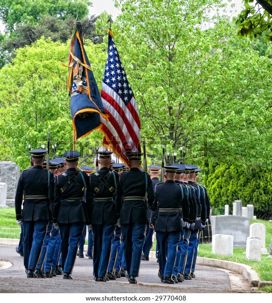 Honor Guard Carrying Flags Marching Burial Stock Photo (Edit