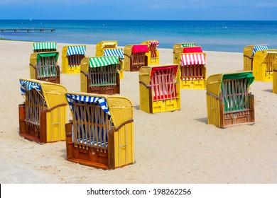 Hooded beach chairs at Baltic Sea